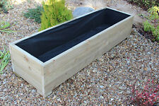 LARGE WIDE WOODEN GARDEN PLANTER TROUGH 150cm LENGTH **FREE LINING & FREE GIFT**