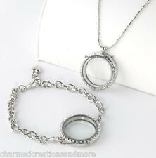 SECURE CLASP 30mm Round Silver Tone Floating Charm Locket Bracelet Necklace Set