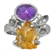 AAA Mandarin Citrine Rough & Amethyst 925 Silver Ring Jewelry s.9 AR152185