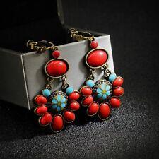 Boucles d`Oreilles Clips a Vis Doré Pendant Bleu Rouge Ethnic Vintage E1