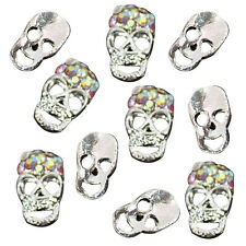 10pcs Silver Skull Alloy 3D AB Rhinestone Crystal Nail Art Tips Slice Decoration