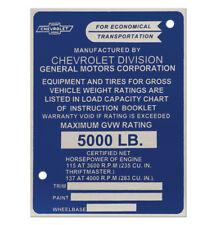 1958 1959 Identification Door Post Plate Chevy 1/2ton Truck 58 59