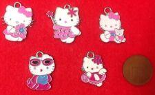 """Set of 5 X Hello Kitty"" (TV Character) Silver Tone Metal Enamel Charms Pendants"