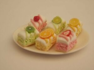 Dolls house food : Ceramic  platter of assorted cake slices   -By Fran