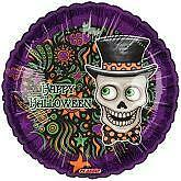 "Halloween Foil Balloons Party Ware Decoration Ghost Vampire Frankenstein Bat 18"" Sugar Skull Day of The Dead Top Hat Balloon"