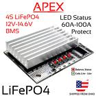 4S 60A 100A 12v 14.6v LiFePO4 LFP LiFe Iron BMS Battery Balance Protection 3.2v