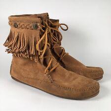Women's MINNETONKA Size 7 Suede Leather Fringe Moccasin Boots