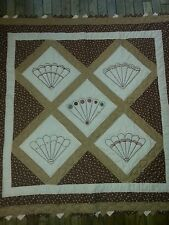"""Embroidered Pieced Quilted Fan Sawtooth Quilt Wall Hanging 45 x 45"""" Earth Tones"""