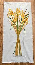 1983 Vallila Finland Sara Popovits Wall Art Fabric Panel Iris in Vase 51 X 25