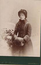 1880-1889 Girl in Snowy Scene with Fur Muff, Burlington, NJ Cabinet Photograph