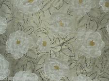 Harlequin Curtain Fabric ROSELLA SILK 1.3m Silver/BarkGreyWhite 100% Silk 130cm