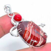 "Red Iron Jsper Coral Handmade Ethnic Style Jewelry Pendant 2.17"" VJ-6822"