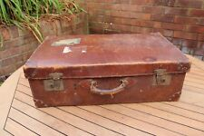 Vintage Leather Travel Voyage Valise + Inner Tray 1920 S 1930 S ART DECO Global navire