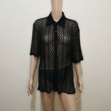 C731 - Member Black and Silver Lace/Mesh Collared Buttoned Stretchable Blouse