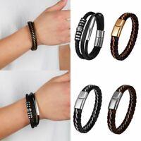 Men's Retro Punk Braided Leather Bracelet Wristband Bangle Cuff Jewelry Gift