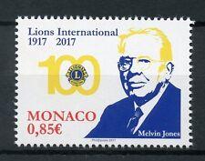 MONACO 2017 Gomma integra, non linguellato LIONS CLUB INTERNATIONAL 100th ANNIV Melvin Jones 1v Set Francobolli