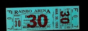 Boxing Match Ticket March 30 1953 Rainbo Arena Chicago Il Johnny Red Evers
