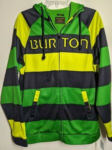 Burton Durable Goods Full-Zipper Hoodie Striped Green Sweater Medium snowboard