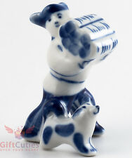 Gzhel Russian Handpainted Porcelain Folk Figurine peasant man w dog and firewood