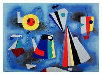 Willi Baumeister Formen auf blauem Grund Poster Kunstdruck Bild 52x72cm