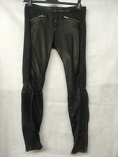 Muubaa Woman's Black Leather Rippled Effect Trousers. Size UK 10. RRP £399.