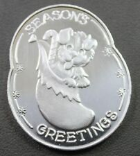 Season's Greetings Happy Holiday Puppy Dog 1 ozt .999 Fine Round