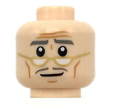 LEGO NEW LIGHT FLESH MINIFIGURE GRANDPA HEAD SMILE GLASSES WINKLES WHITE PUPILS