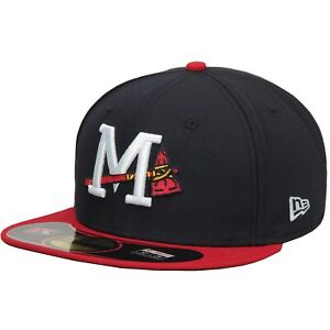 Mississippi Braves New Era Authentic Home 59FIFTY Fitted Hat - Navy/Red