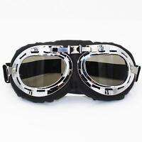 Motorcycle Vintage Goggles Bike Glass Steampunk Aviator Clear Safety Lense Pilot
