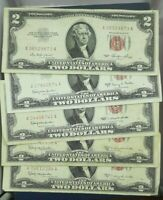 $2 RED SEAL NOTES  NICELY CIRCULATED  EACH LOT IS FOR 5 NOTES