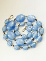 Vintage Czech Satin Blue Glass Beaded Rolled Gold Necklace