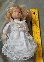 """Antique Bisque Porcelain Doll Jointed Bride Wedding Veil Dress 7"""" Blonde VTG"""