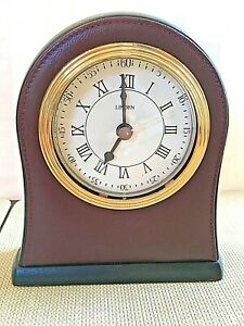 "LINDEN Desk Clock, 5-3/4"" High, Brown Leather Front with Goldtone Trim"