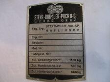 Typenschild  Steyr Puch haflinger  700 AP 700AP 1150 kg S24