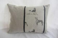"Emily Bond Linen Long Dog Stripe with Plain Linen Back Cushion  Cover 17""x12"""