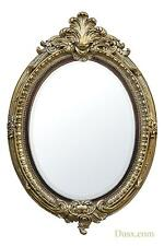 DUSX Gold Gilt Leaf and Brown Oval Bevelled Mirror