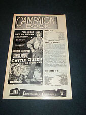 """Old RKO Promo Pictures Exhibitors' Book """"Cattle Queen Of Montana"""" Ronald Reagan"""