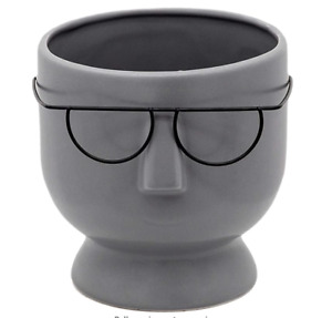 """SageBrook Home 15825-02, 6""""H FACE with Glasses Planter, Gray"""