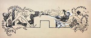 """Paul Rieth (1871-1925) signierte Zeichnung, Jugendstil Vignette, """"Münchner Luft"""""""