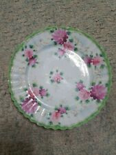 Vintage Decorative green & White Floral Plate Scalloped Edge
