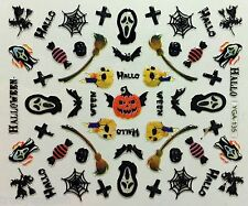 Halloween 3D Nail Art Stickers Black Spider Skull Bat Candy Broomstick (Y135)