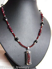 "GLASS BEDED NECKLACE black ONYX & GARNET gemstone WISH BOTTLE 30"" wicca goth"