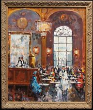 "Antonio Gravina (1933-2011) Original Signed Oil/Canvas ""French Cafe"" C.1965"