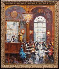 "Listed Italian Antonio Gravina Original Signed Oil/Canvas ""French Cafe"" C.1965"