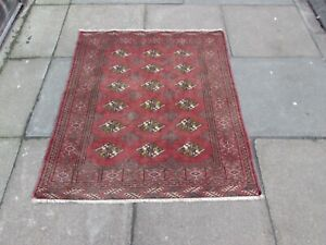 Vintage Hand Made Traditional Oriental Wool Faded Red Square Small Rug 117x112cm