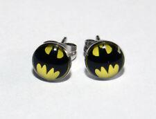 Pair of Batman Logo Button Ear Ring Studs. 10mm
