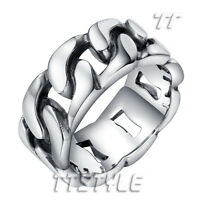 High Quality TT 10mm 316L Stainless Steel Curb Chain Band Ring  Size 8-14 (RZ89)