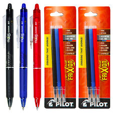 Pilot FriXion Clicker Erasable Gel Ink Pens, 3 Pens With 2 Pk of Refills