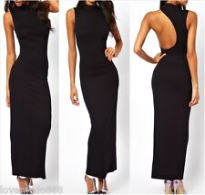 New Womens club party HIGH NECK scooped open back long maxi fit DRESS Large BLK