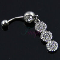 Clear Color Triple Flower Dangle Belly Ring Bar Navel Ring 3-Circles Dangling MA